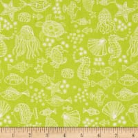 Andover/Makower Mermaid Outline Tonal Green