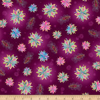 QT Fabrics Enchanted Floral Tossed Floral Plum