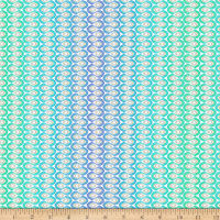 QT Fabrics Enchanted Floral Wavy Stripe Blue