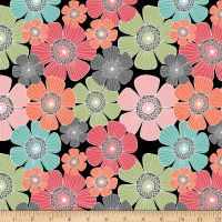 QT Fabrics Piece Of Cake Packed Flowers Black