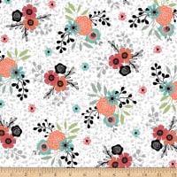 QT Fabrics Piece Of Cake Spaced Floral White