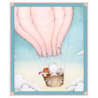 "QT Fabrics Up, Up & Away Balloon 36"" Panel Pink"