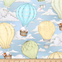 QT Fabrics Up, Up & Away Hot Air Balloon Scenic Blue