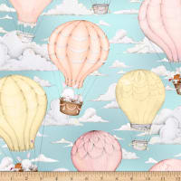 QT Fabrics Up, Up & Away Hot Air Balloon Scenic Robin'S Egg Blue