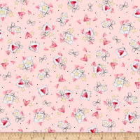 QT Fabrics Up, Up & Away Hearts & Stars Pink