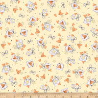 QT Fabrics Up, Up & Away Hearts & Stars Yellow