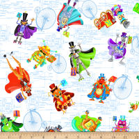 QT Fabrics Bits & Bots Spaced Robots White