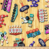 QT Fabrics Bowl-A-Rama Retro Bowling Signs Wheat