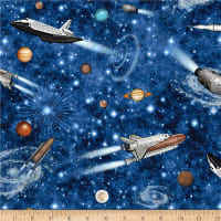 QT Fabrics Intergalactic Space Ships Midnight