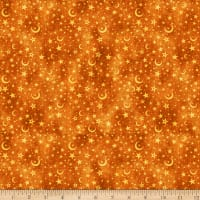 QT Fabrics Intergalactic Moon & Stars Burnt Orange
