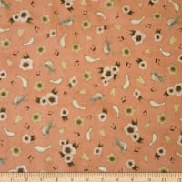 QT Fabrics Lost Song Flower & Dove Toss Coral