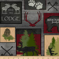 QT Fabrics Moose Trail Lodge Lodge Patch Gray