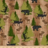 QT Fabrics Moose Trail Lodge Animals & Pine Trees Tan