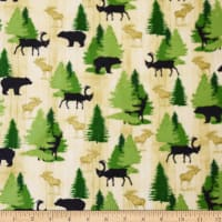 QT Fabrics Moose Trail Lodge Animals & Pine Trees Cream