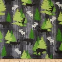 QT Fabrics Moose Trail Lodge Animals & Pine Trees Gray