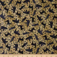 QT Fabrics Moose Trail Lodge Animal Silhouettes Dark Tan
