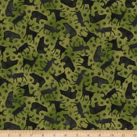QT Fabrics Moose Trail Lodge Animal Silhouettes Green
