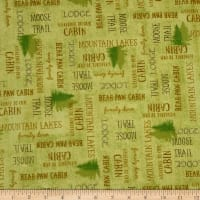 QT Fabrics Moose Trail Lodge Lodge Lingo Light Green