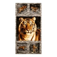 "Andover Tiger Kingdom Tigers 24"" Panel Charcoal"