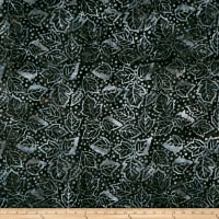 Timeless Treasures Tonga Batik Graphite Winter Leaves Slate