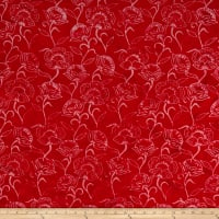 Timeless Treasures Tonga Batik Poppy Tossed Flowers Red