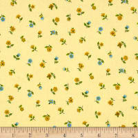 Andover/Makower Bloom Floral Scatter Yellow