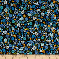 Andover/Makower Bloom Packed Flowers Blue