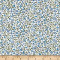 Andover/Makower Bloom Floral Scroll Blue