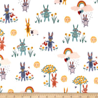 Andover/Makower Counting Sheep Bunnies White
