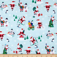 Andover/Makower Jolly Santa Scenic Blue