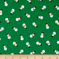 Andover/Makower Jolly Santa Snowmen Green