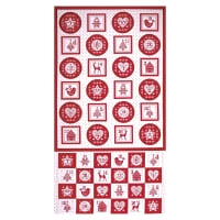 "Andover/Makower Scandi 2018 Scandi Advent Pocket 24"" Panel Red"