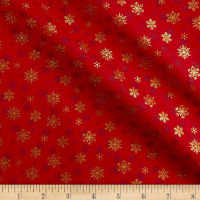 Andover/Makower Silent Night Snowflake Metallic Red