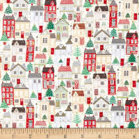 Andover/Makower Silent Night Houses Metallic Multi