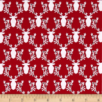 Michael Miller Rustique Winter Bucks and Boughs Cranberry
