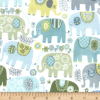 Michael Miller Happy Elephants  Flannel Happy Elephants Blue