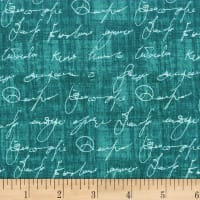 Michael Miller Poetry in Motion Love Note Teal