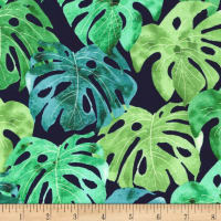 Michael Miller Garden Isle Luscious Leaves Navy