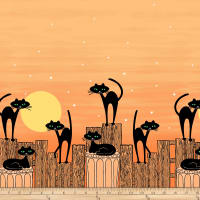 Michael Miller Bats & Black Cats Stray Cat Strut Orange