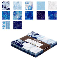 "Kaufman Holiday Flourish 5"" Charm Squares 42 Pcs  Metallic Peacock"