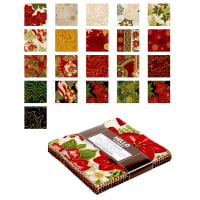 "Kaufman Holiday Flourish 5"" Charm Squares 42 Pcs Metallic Holiday"