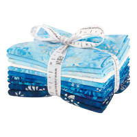 Kaufman Artisan Batiks Snowflakes 10 Pcs. Fat Quarters Bundle Metallic Glacier