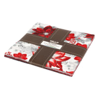 "Kaufman Holiday Flourish 10"" Squares 42 Pcs. Metallic Silver"
