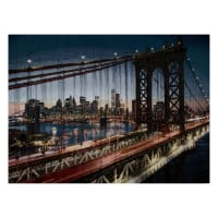 Photorealism Jacquard Wall Décor/Panel Brooklyn Bridge at Night