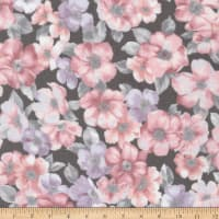 Kaufman Woodside Blossom Flowers Charcoal