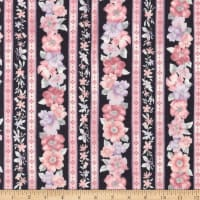 Kaufman Woodside Blossom Flowers Stripes Charcoal