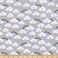Kaufman Day Dreamer Clouds Rainbows Grey