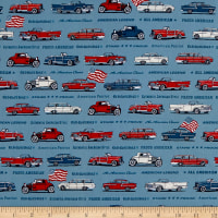 Kaufman Old Guys Rule Denim Cars Multi