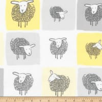 Kaufman Wooley Sheep Squares Yellow