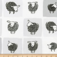 Kaufman Wooley Sheep Squares Grey